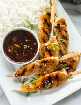 Asian Chicken Skewers with Honey Garlic Dipping Sauce
