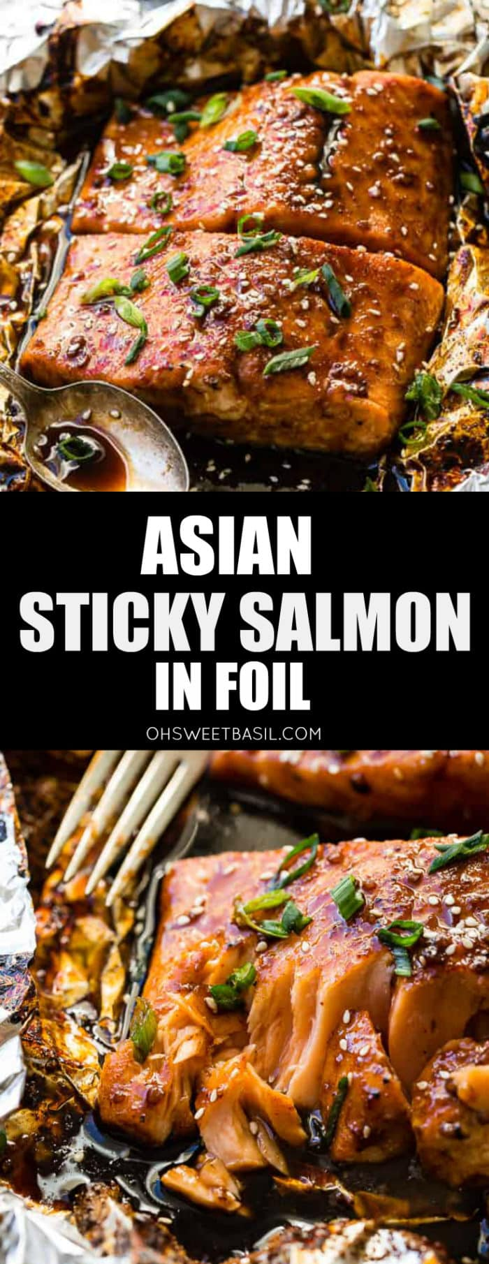 A piece of foil with two fillets of salmon covered in a sticky dark brown Asian sauce with sliced green onions and sesame seeds with a vintage spoon with a little sauce on it next to the salmon