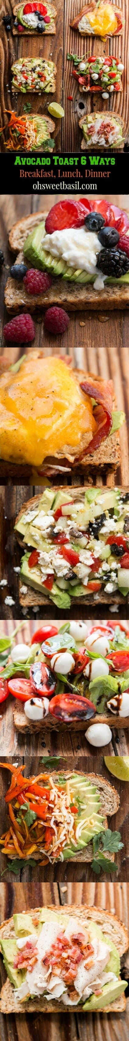 Avocado Toast for breakfast lunch and dinner. I think the caprese is my favorite, wait or the berry, gosh I don't know ohsweetbasil.com