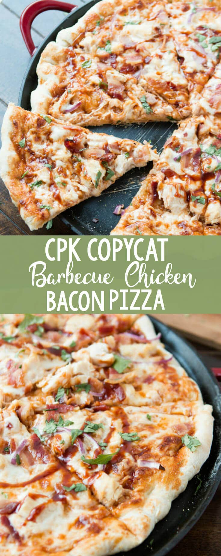 Delicious copycat California Pizza Kitchen BBQ Chicken Pizza. The cheese and the sauce melt into the pizza leaving the chicken and bacon warm and toasted. This is definitely a family fave.