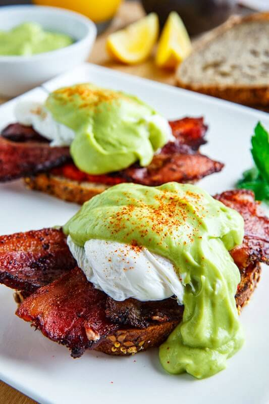 Bacon Eggs Benedict with Avocado Hollandaise