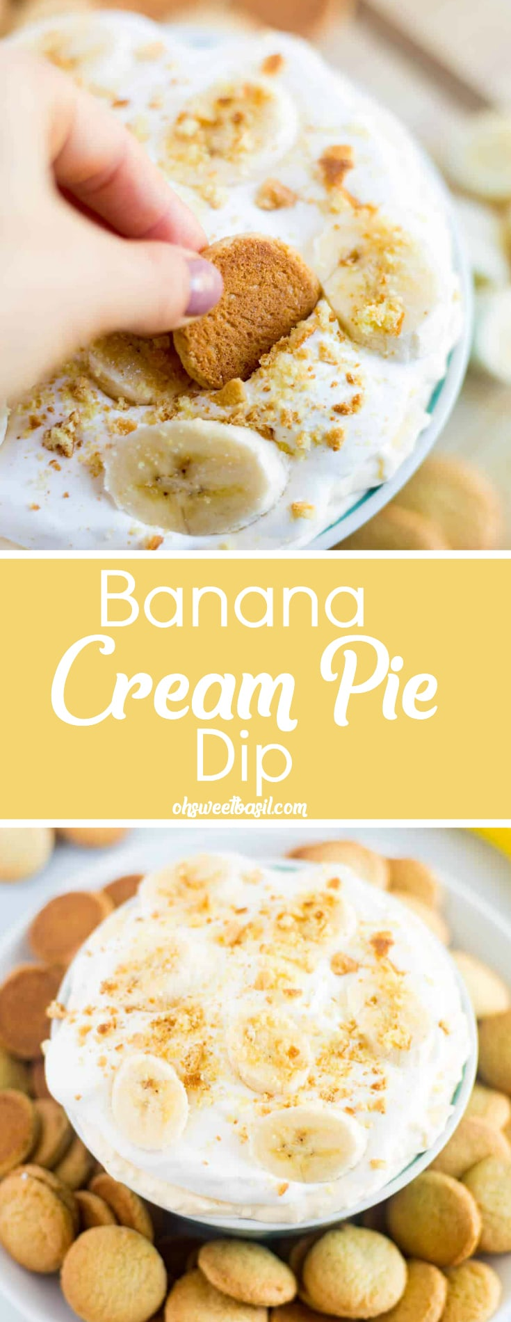 A bowl of delicious banana cream pie dip with bananas and nilla wafers crushed on top