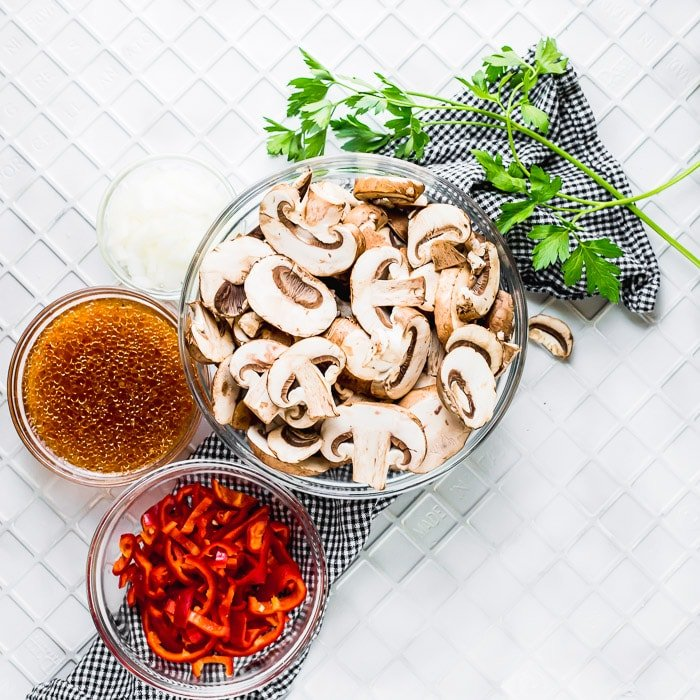 Ingredients you will need to make Italian Sauteed Mushrooms easy and quick side dish recipe.