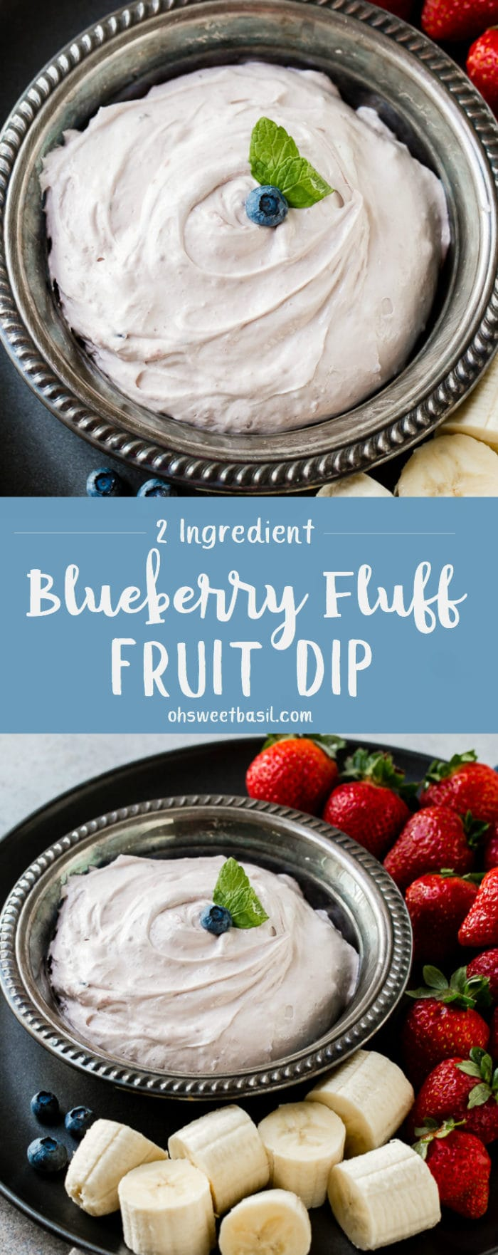 A silver bowl full of Blueberry Fluff Fruit Dip with a side of fruit to dip in on the side