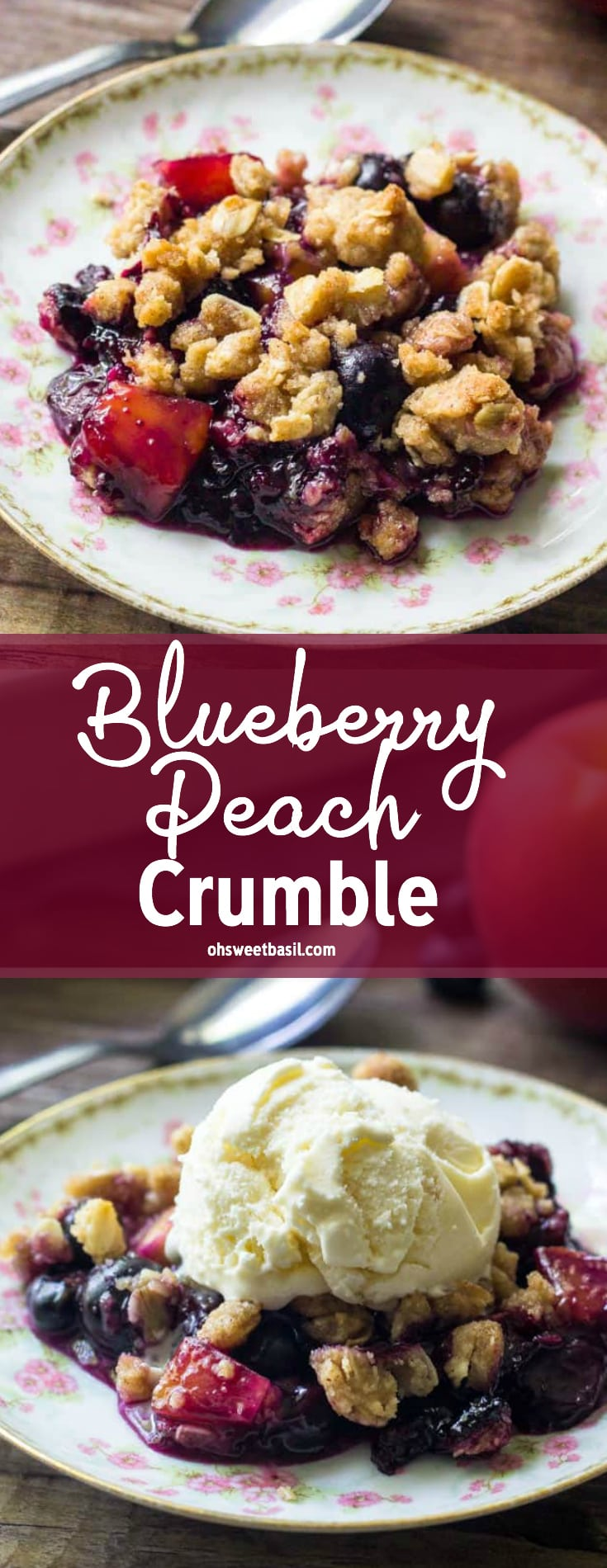 A plate of blueberry peach crumble with juicy berries & oatmeal crumble topping