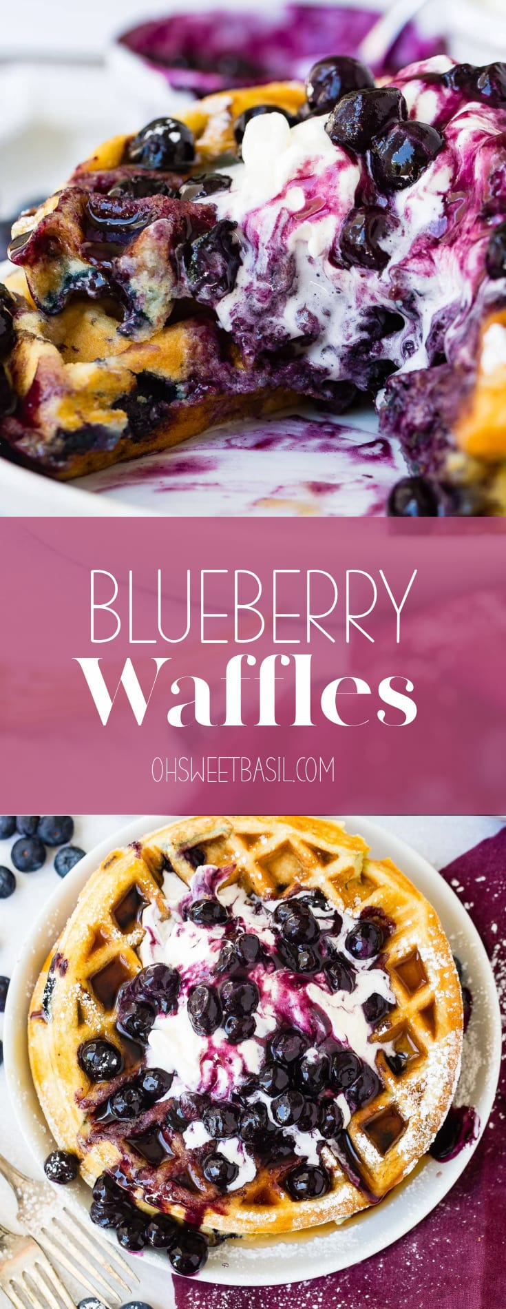 A top view of a blueberry waffle. There are blueberries and whipped cream on top. Fresh blueberries, a bowl of mashed blueberries with a spoon, and a bowl of whipped cream are in the background. The plate is sitting on a wine colored napkin and there are two forks next to the plate.