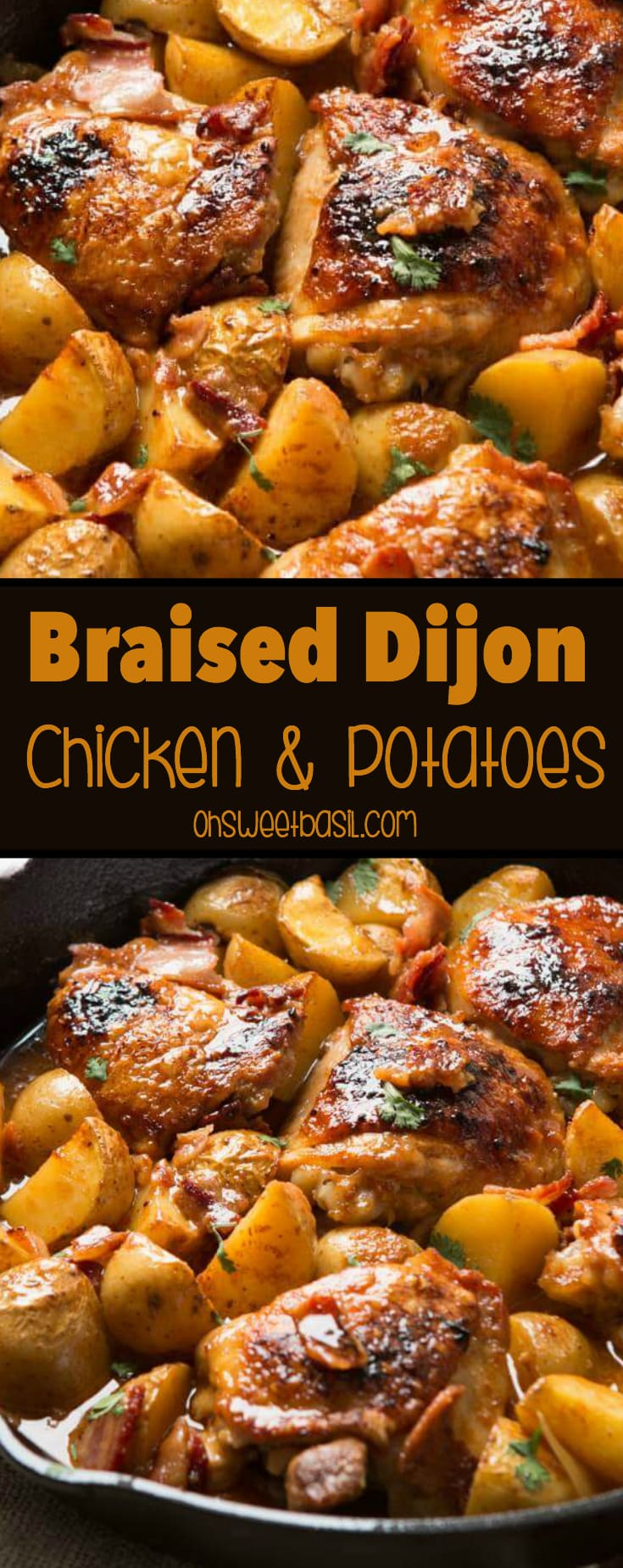 Hands down, our absolute most favorite recipe ever is this juicy, saucy braised dijon chicken and potatoes that's a one skillet wonder!