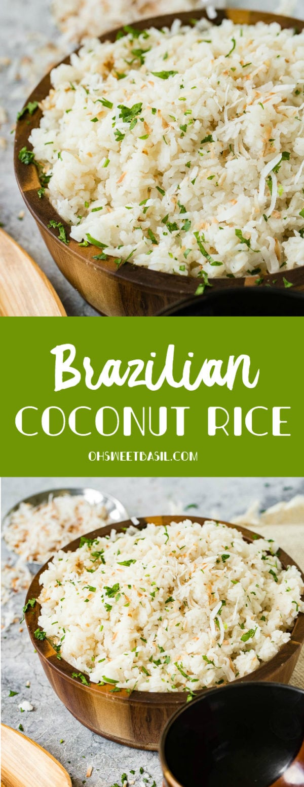 A photo of Brazilian coconut rice in a large wooden bowl and garnished with chopped fresh basil.