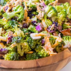 Everyone's favorite quick and easy broccoli salad recipe that's perfect for potlucks and BBQs. Plus, it has bacon in it!! ohsweetbasil.com