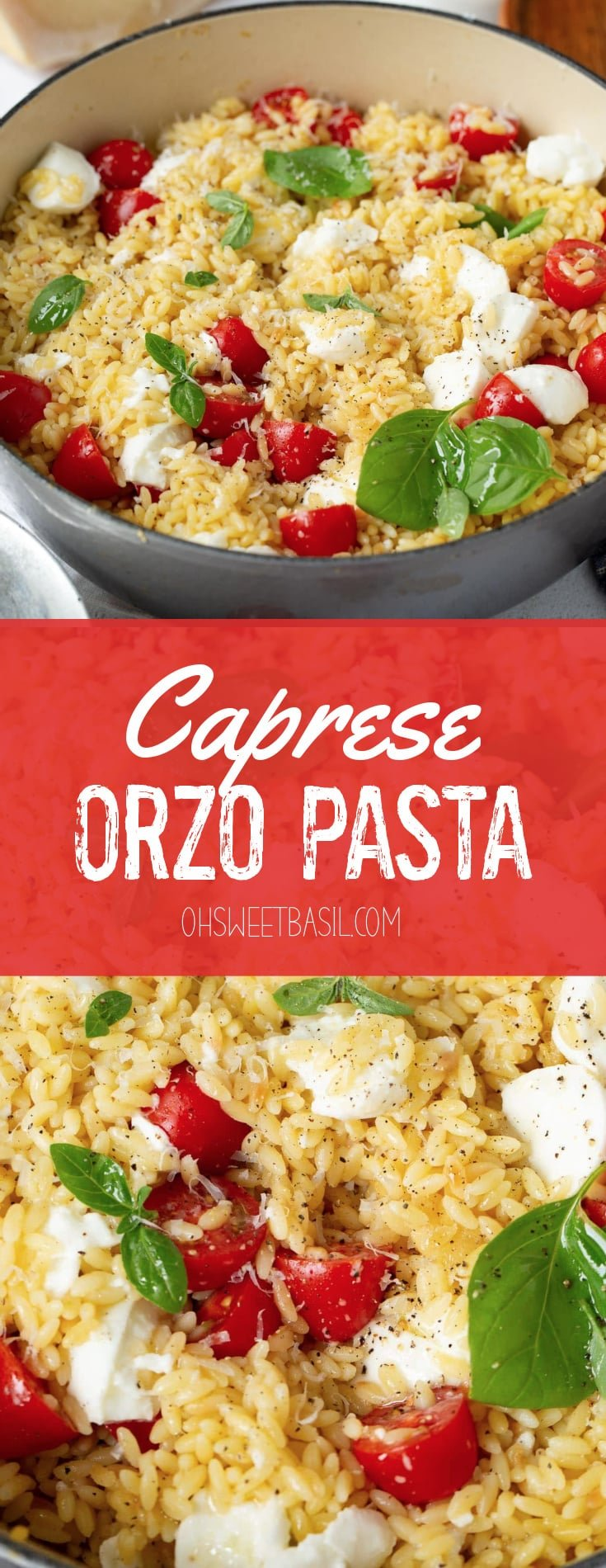 A serving bowl of orzo caprese salad. It is loaded with tomatoes, fresh basil and mozzarella cheese. Parmesan cheese, salt, and tomatoes are next to the bowl of orzo.