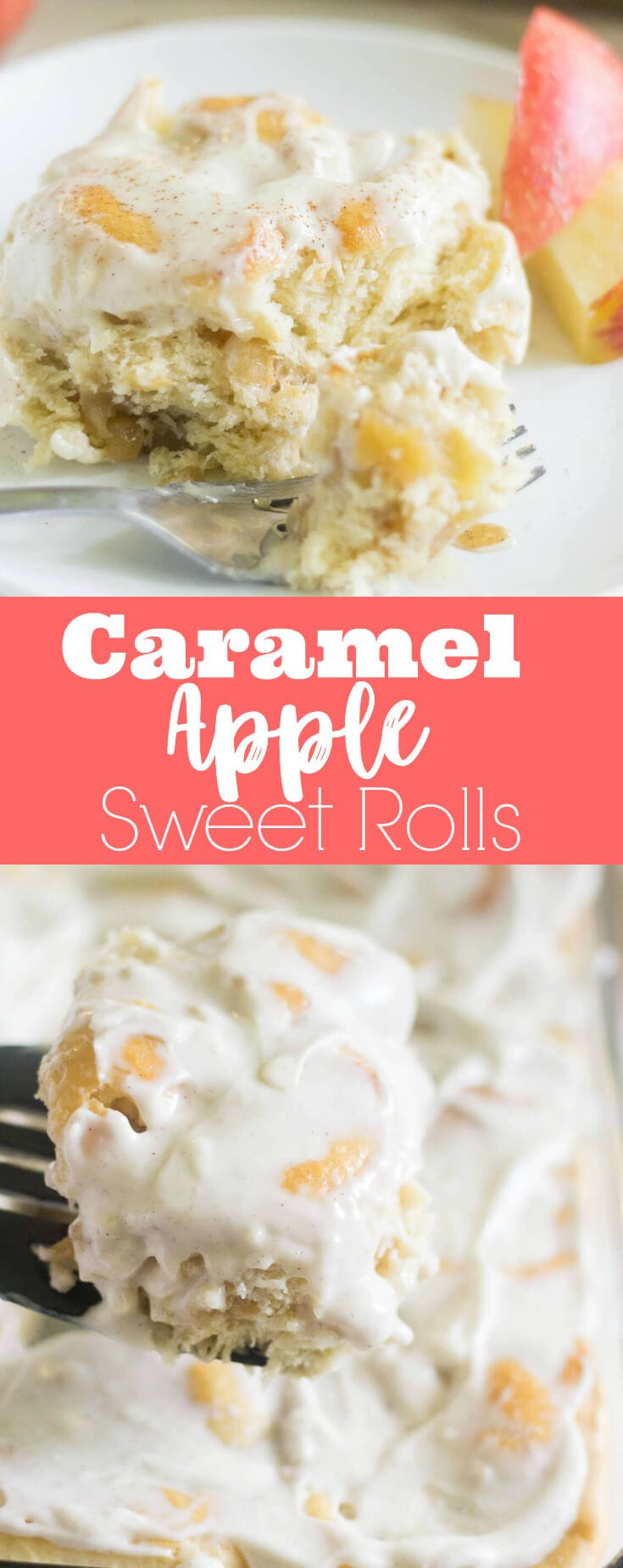 A sweet roll recipe you can't live without! Filled with caramel, apples and cinnamon, these caramel apple sweet rolls are made for fall mornings!
