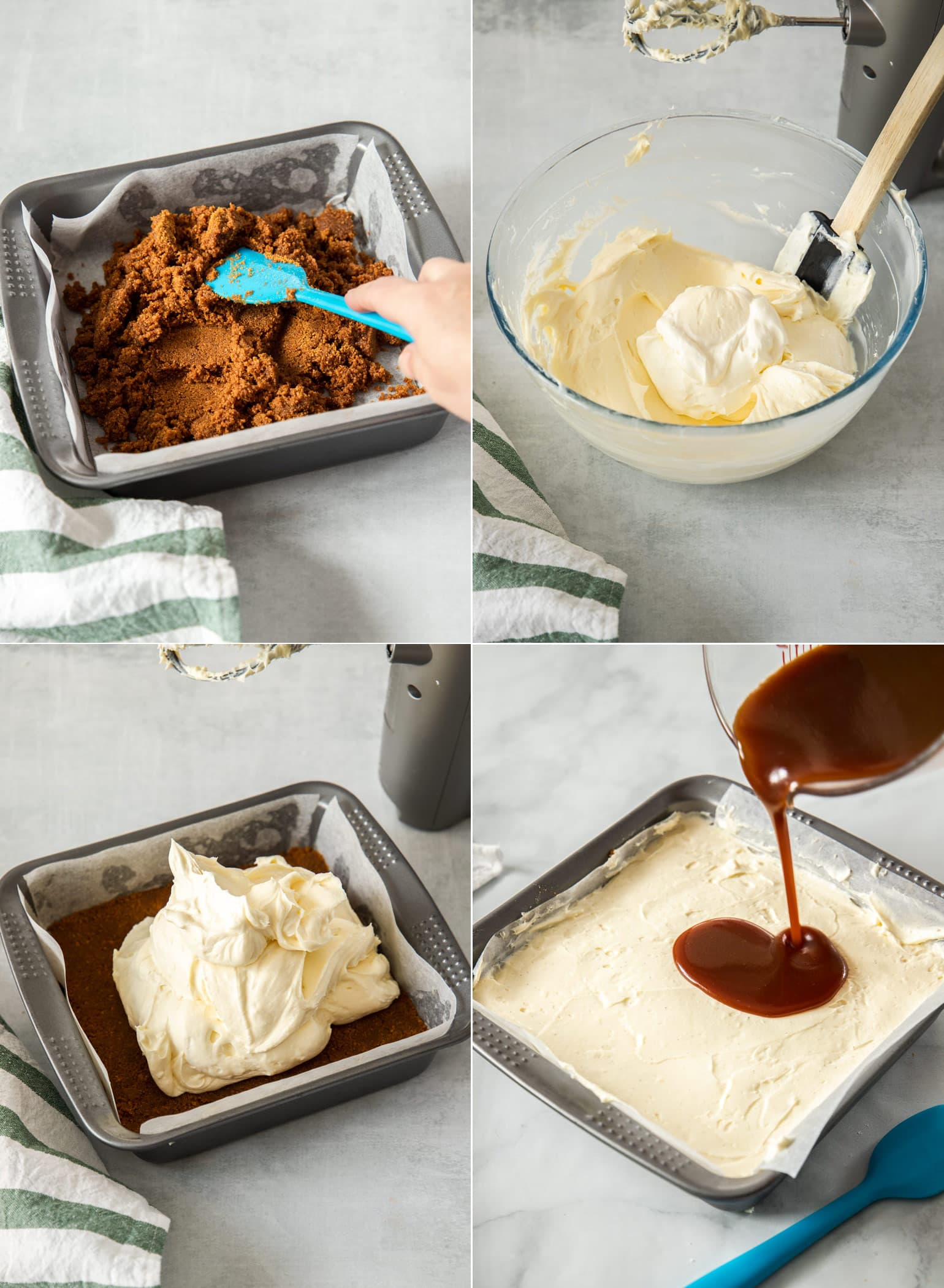 Step by step photos showing how to make caramel cheesecake bars