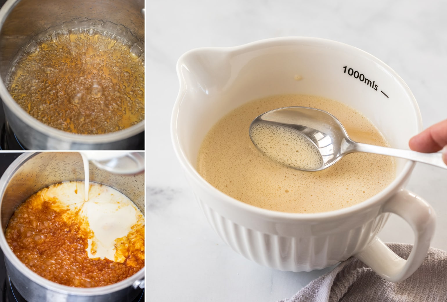 A collage of photos with caramel in a saucepan and then custard in a white jug