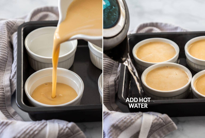 Caramel custard being poured into small white ramekins