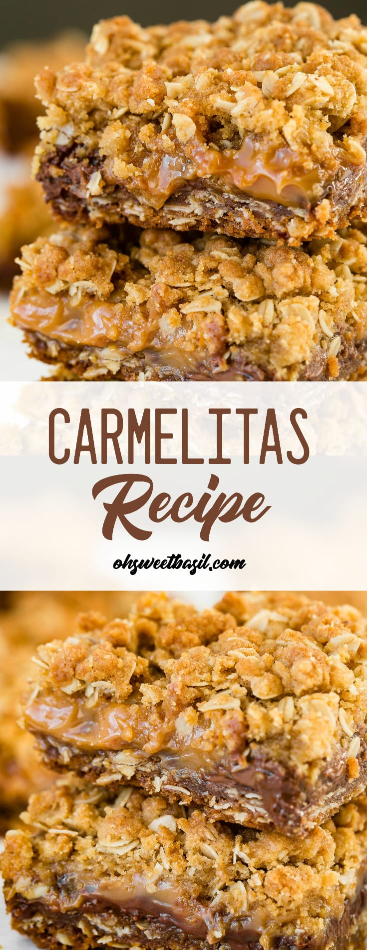 A stack of carmelitas with chocolate, caramel and an oat crumble