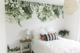 Beach vibe modern palm removable wall paper bedroom