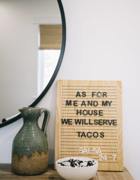 Emerie Lane Letter Board with taco quote