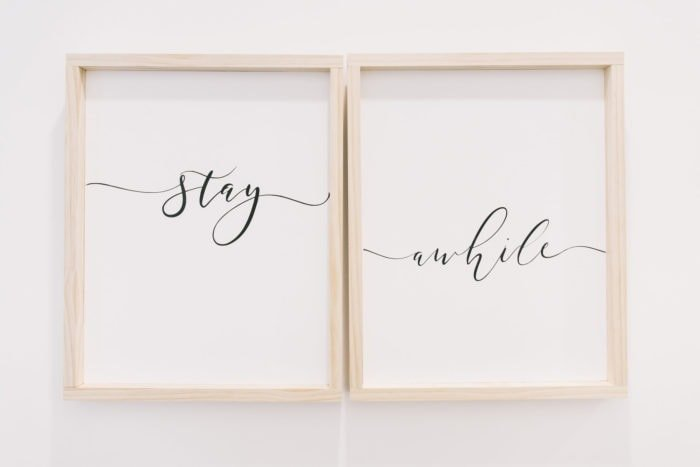 stay awhile signs with wood frames