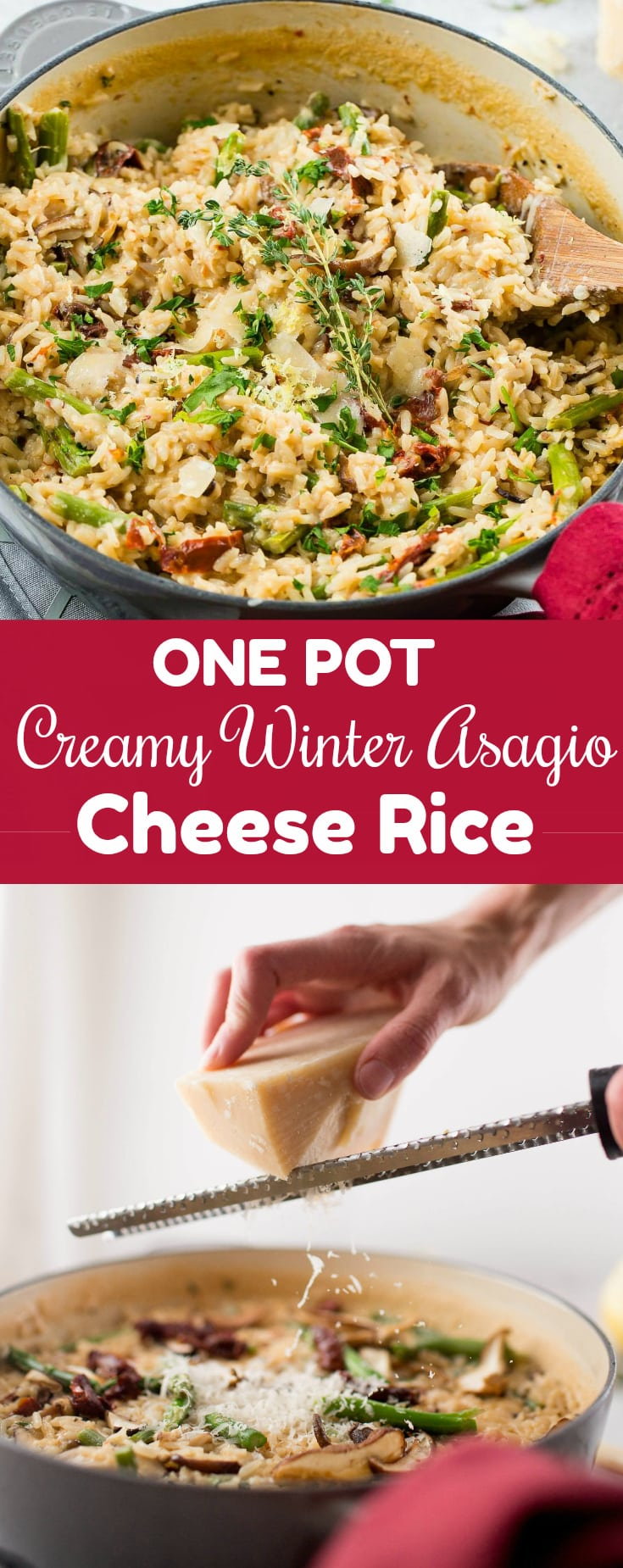 The holidays are busy enough without adding in all of the cooking and family dinners. Make this one pot creamy winter asiago cheese rice with asparagus!