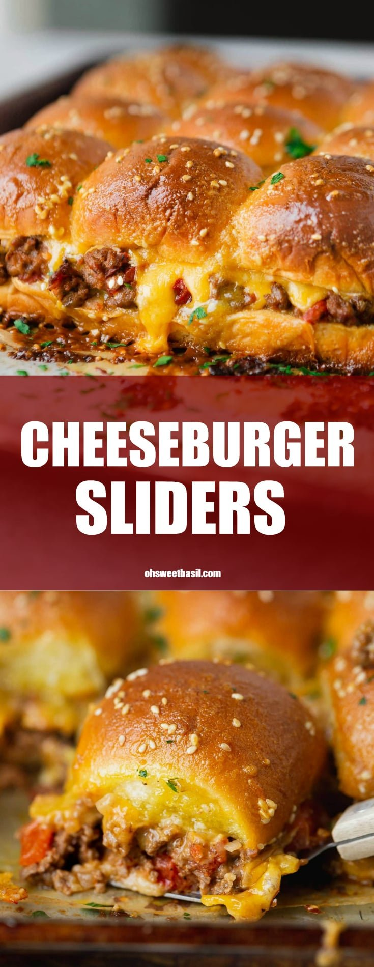 A panful of cheeseburger sliders. The cheese is oozing from the rolls and you can see ground beef and chunks of tomatoes.