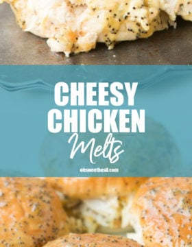 A pan of creamy cheesy chicken melts