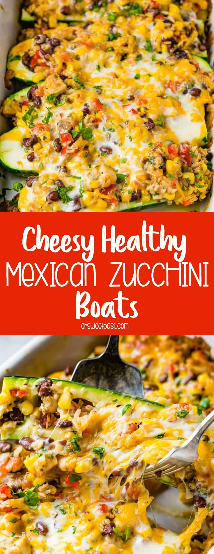 a casserole dish of cheesy healthy mexican zucchini boats with brown rice, peppers, beans, tomatoes, salsa and cheese
