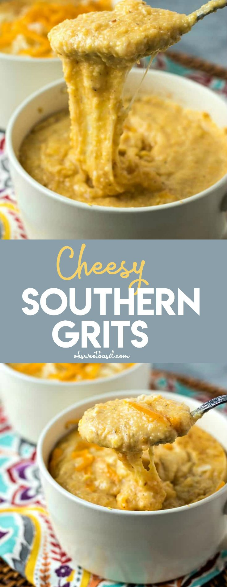 a bowl of cheesy grits with a patterned napkin underneath