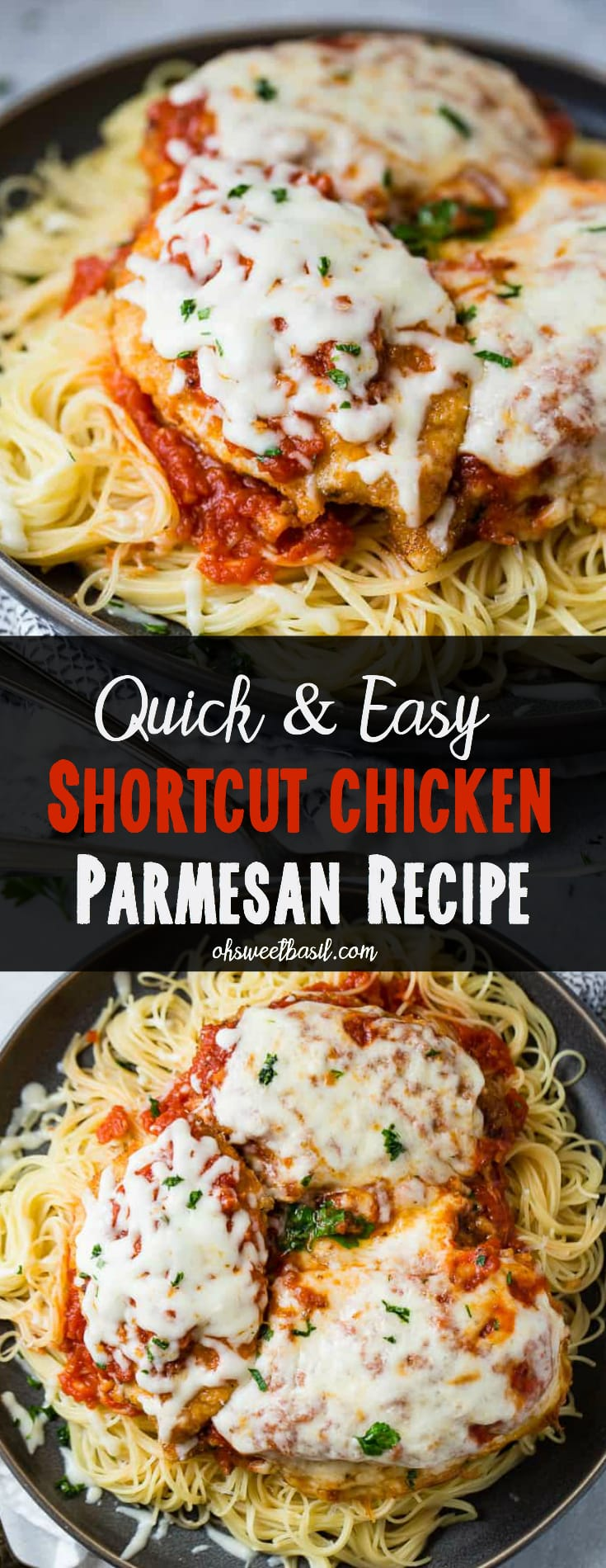 A dark grey platter filled with angel hair pasta, a little marinara tomato sauce, breaded chicken with marinara and melted mozzarella cheese and a sprinkle of chopped Italian flat leaf parsley. Quick and Easy shortcut chicken parmesan
