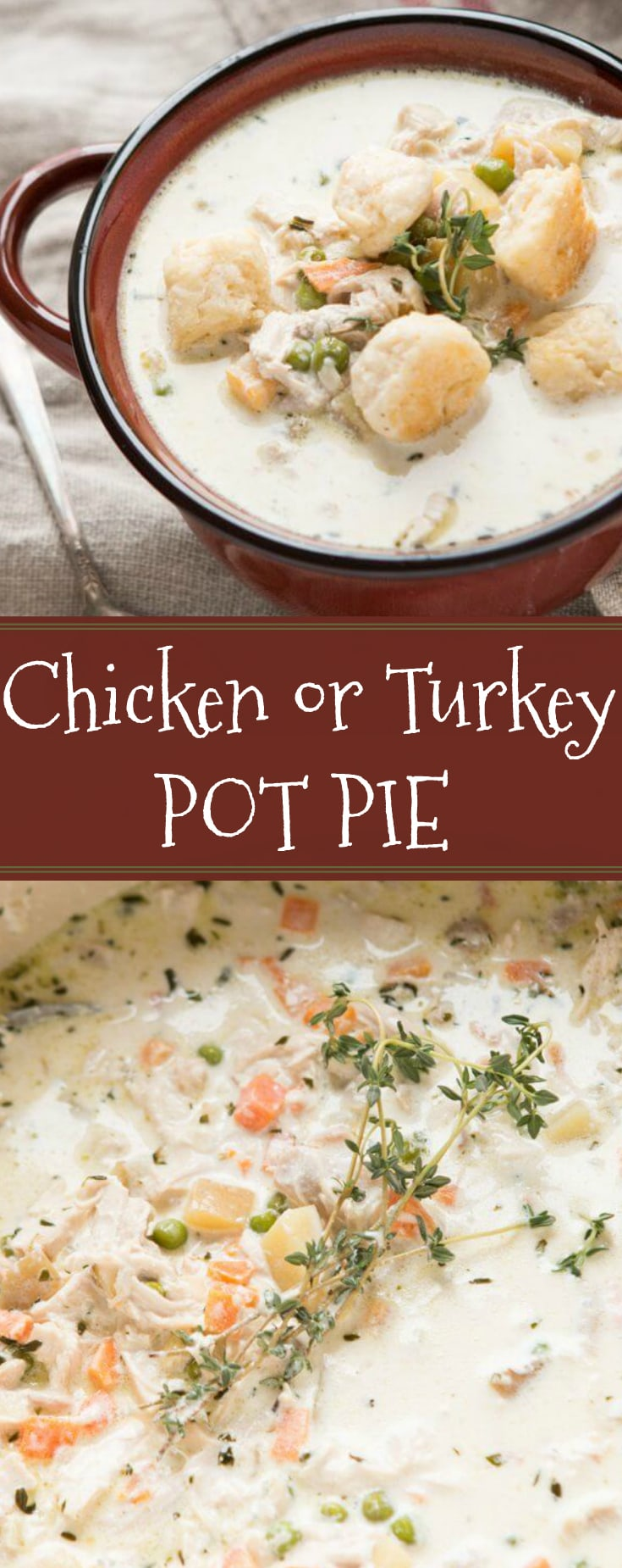 Take your favorite comfort food and turn it into the best cold weather soup ever, chicken or turkey pot pie soup! We even added biscuits on top!