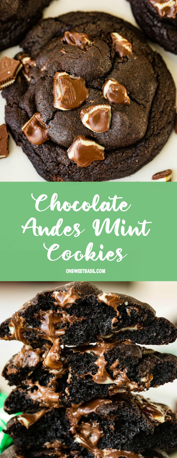 a stack of double chocolate cookies filled with andes mint chips melting out of the warm cookies