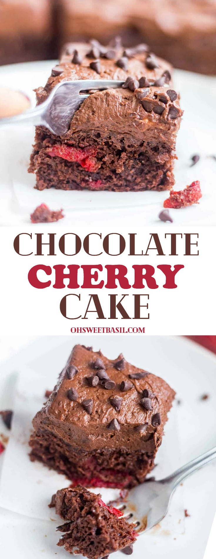 A moist Chocolate Cherry Cake with a chocolate fudgy frosting on top