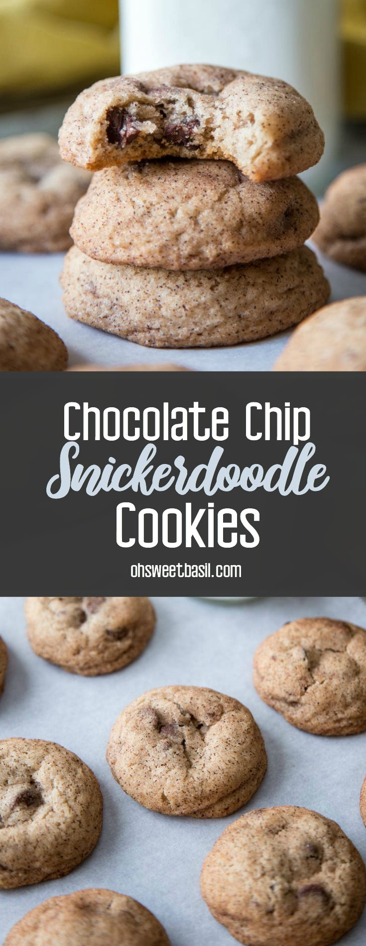 A stack of chocolate chip snickerdoodle cookies