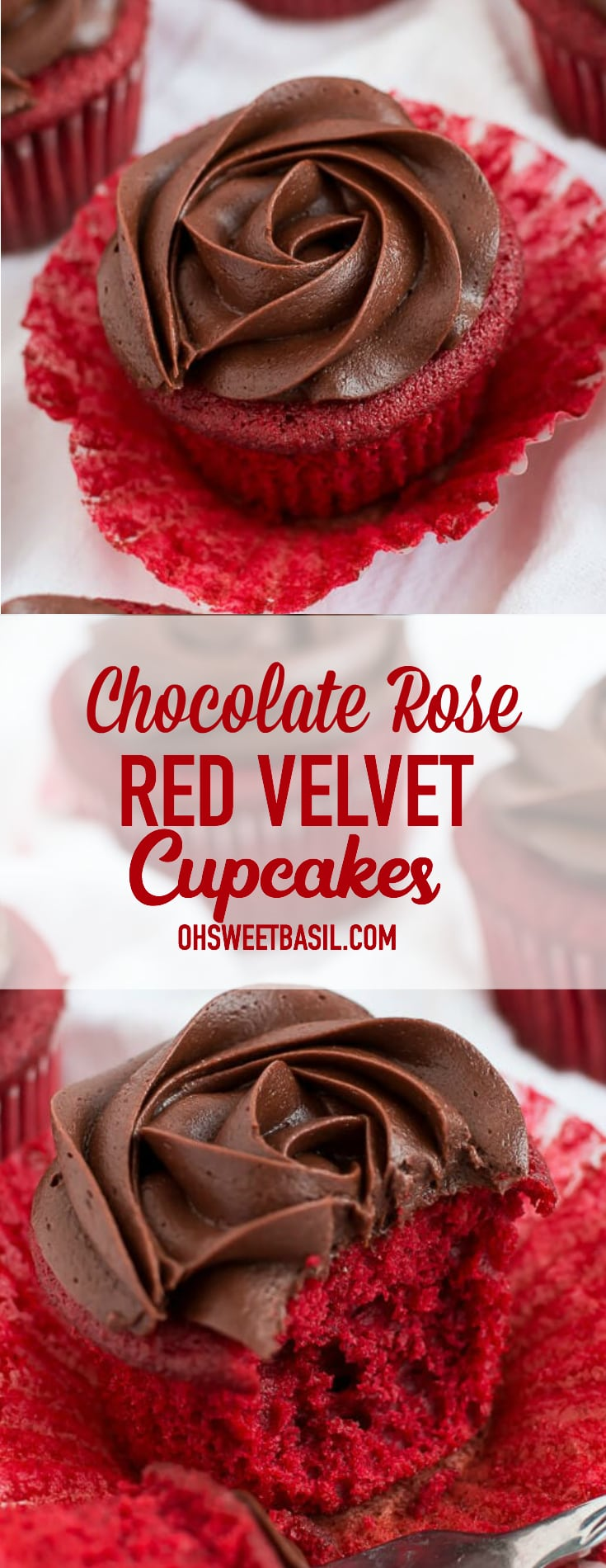 Red Velvet Cupcakes with a chocolate rose on top