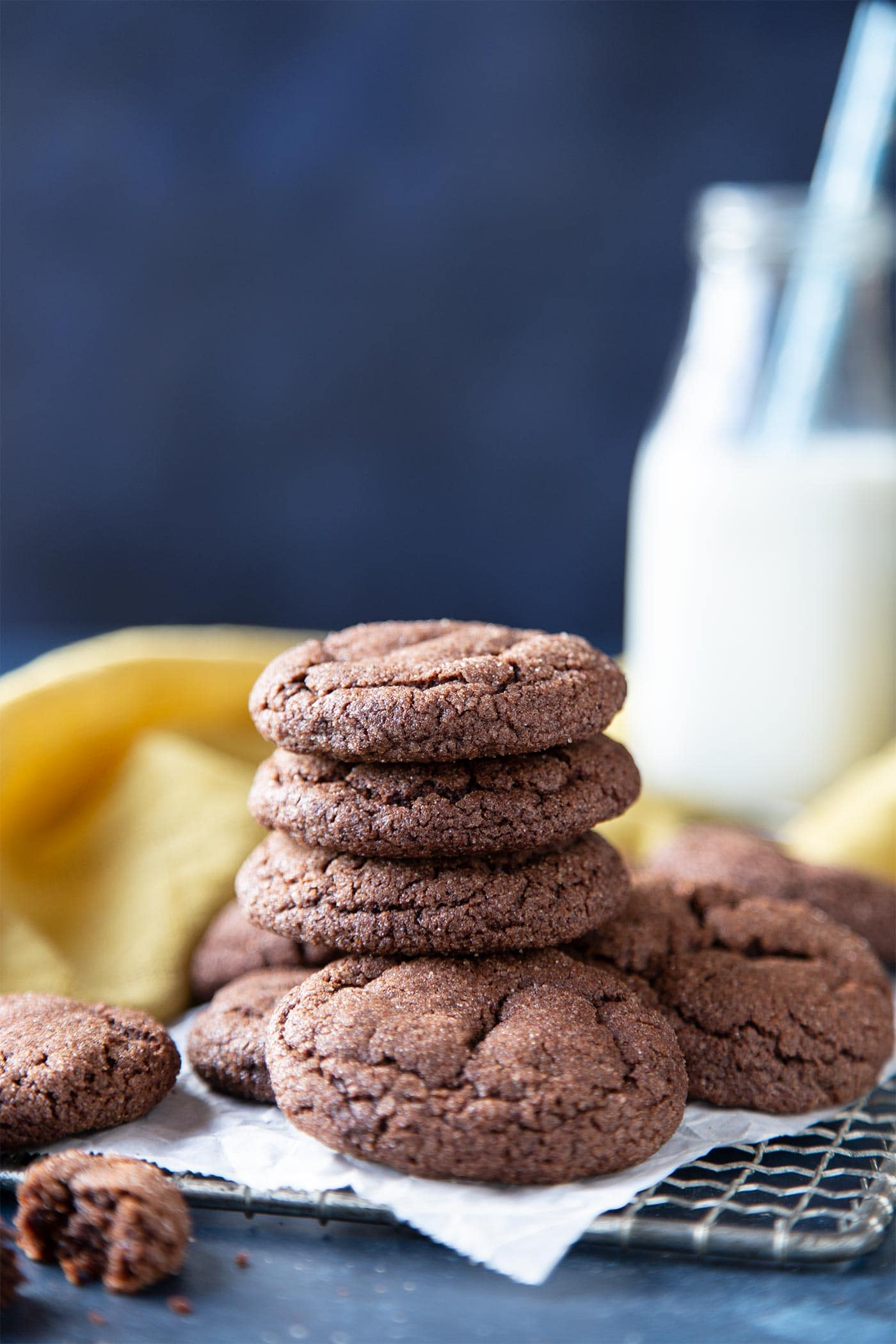 A stack of chocolate snickerdoodle cookies