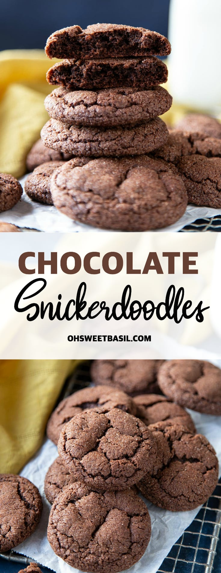 Chocolate snickerdoodle cookies on a metal grate