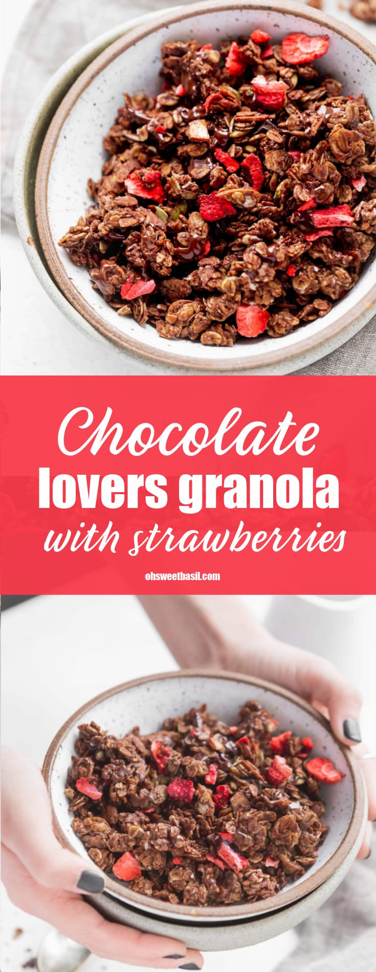 A bowl of chocolate lovers granola with strawberries. You can see the chunks of oats coated in chocolate and the red strawberries.