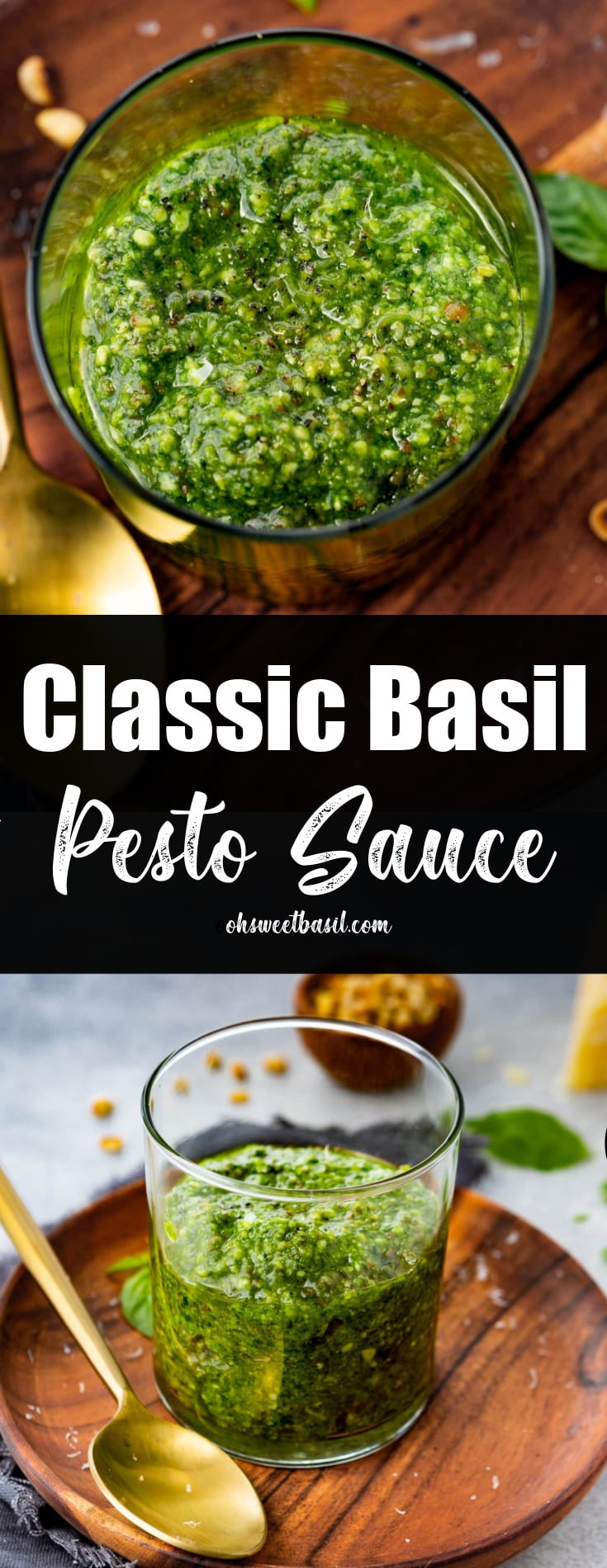 a photo of a jar of homemade pesto sauce on a wooden plate with a gold spoon next to it.