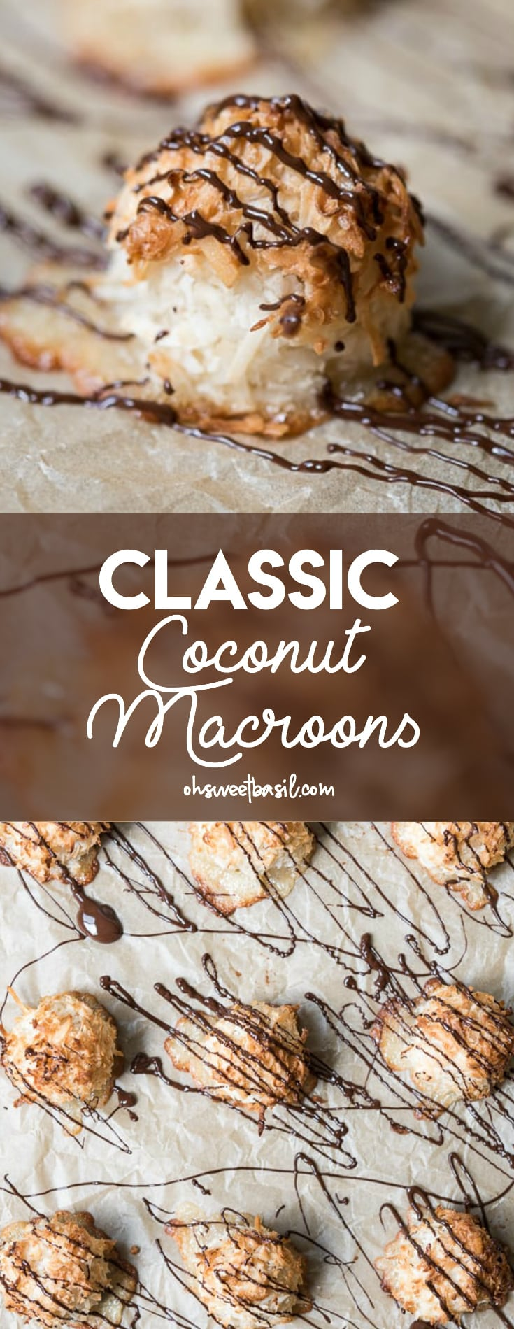 Classic Coconut Macaroons on a baking sheet drizzled with chocolate