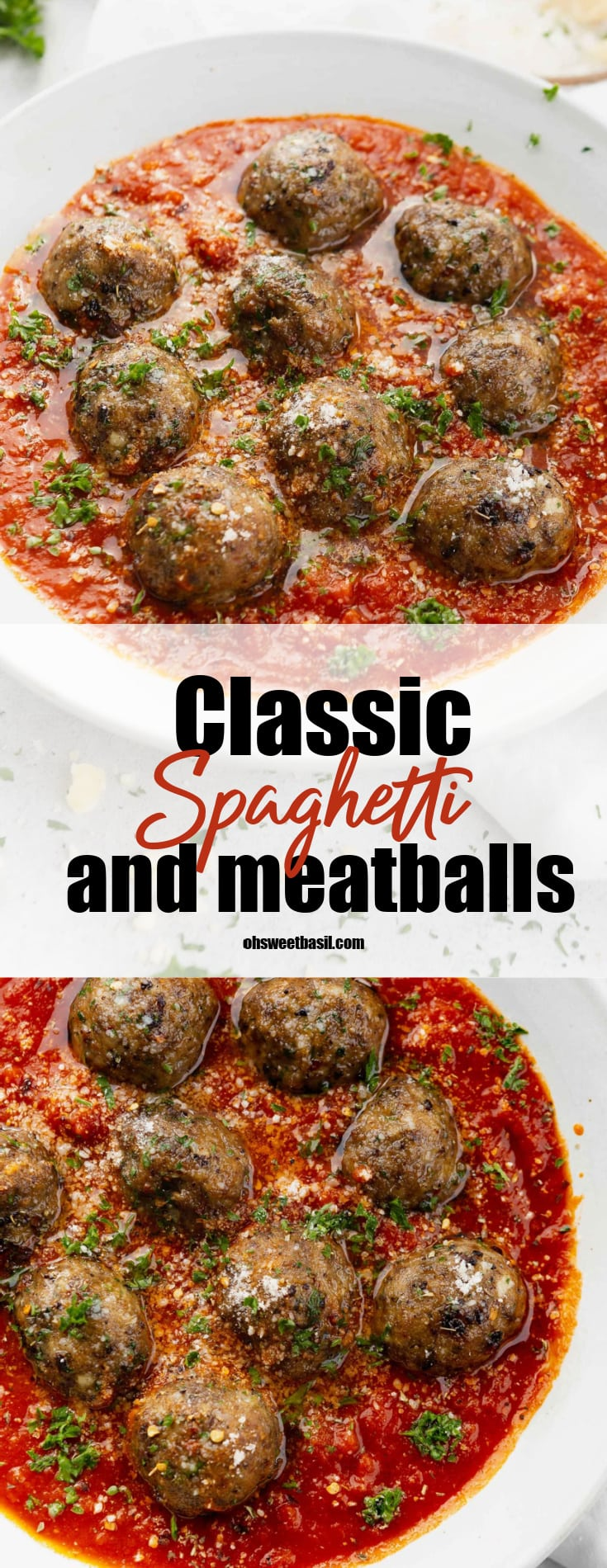 A bowl of meatballs in a tomato based sauce. The dish is sprinkled with chopped parsley.