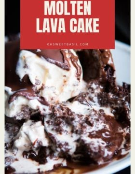 A Molten Lava Cake with chocolate and ice cream on top