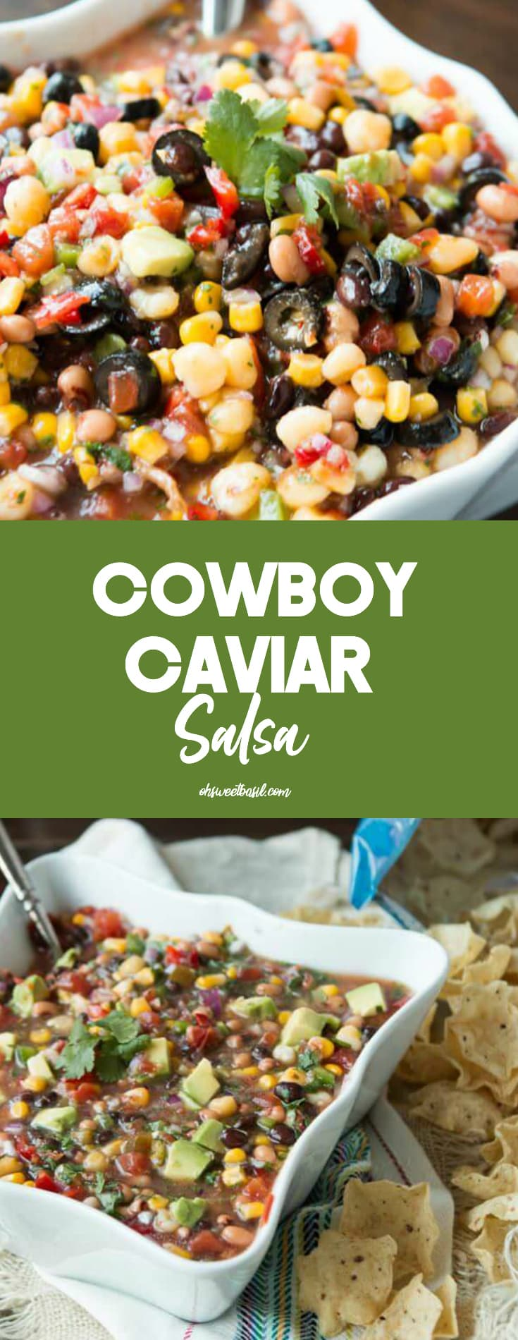 A bowl of cowboy caviar salsa with chips on the side