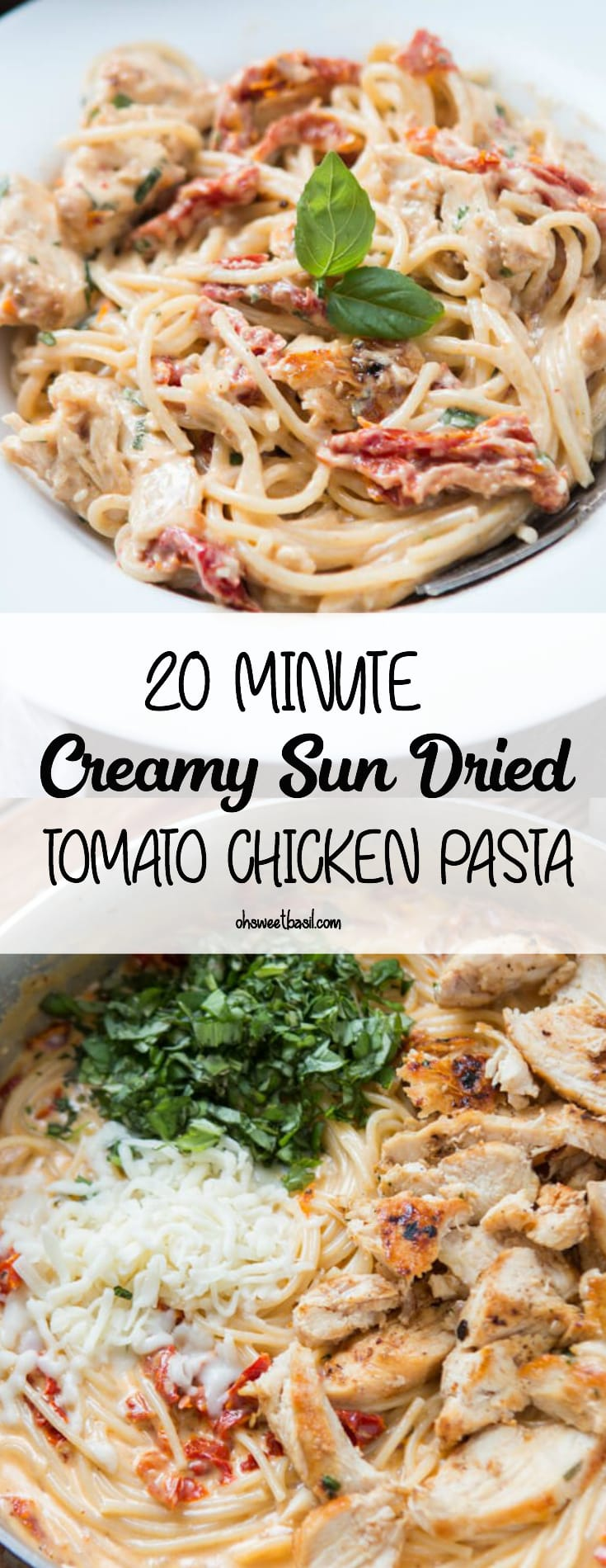 A bowl of creamy sun dried tomato chicken pasta