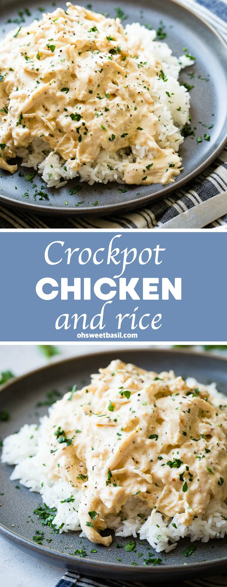 A dark grey plate with a pile of white Jasmine rice with creamy crockpot chicken shredded over the top