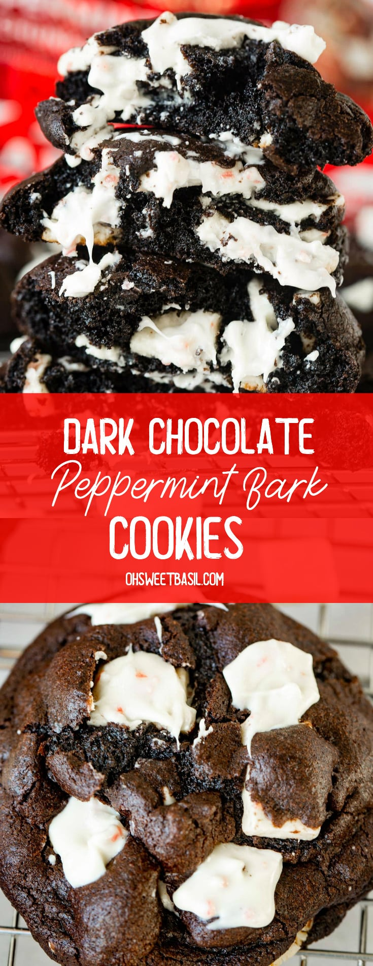 a stack of warm dark chocolate peppermint cookies on a cooling rack