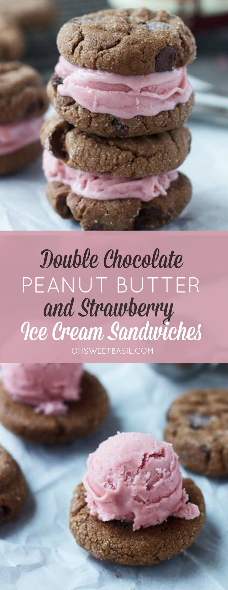 A stack of Double Chocolate Peanut Butter and Strawberry Ice Cream Sandwiches