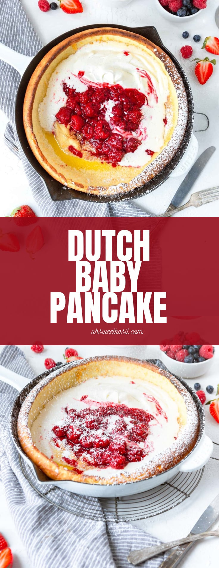 A photo of a baked dutch baby pancake topped with whipped cream and fresh berries.