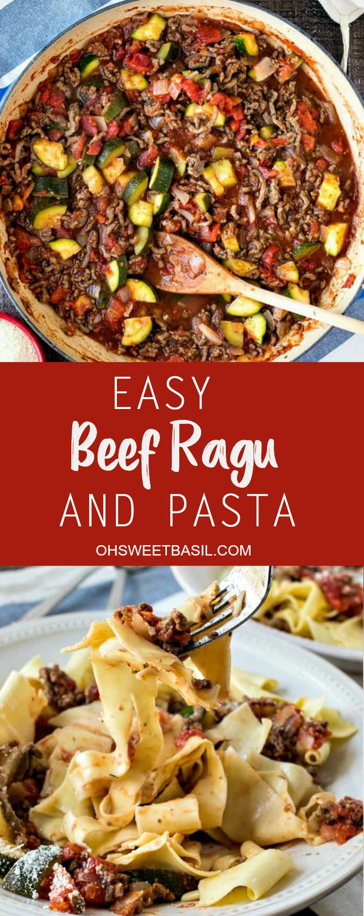 A bowl filled with zucchini, lean meat, tomato sauce and noodles which makes an Easy Beef Ragu and Pasta recipe for dinner.