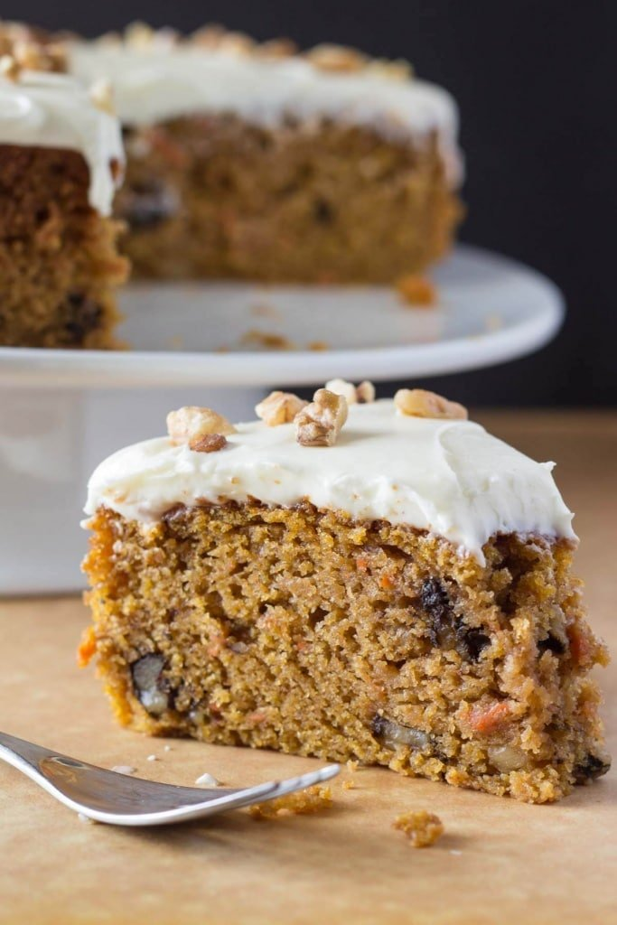 This carrot cake recipe is extra moist, filled with walnuts and topped with cream cheese frosting.