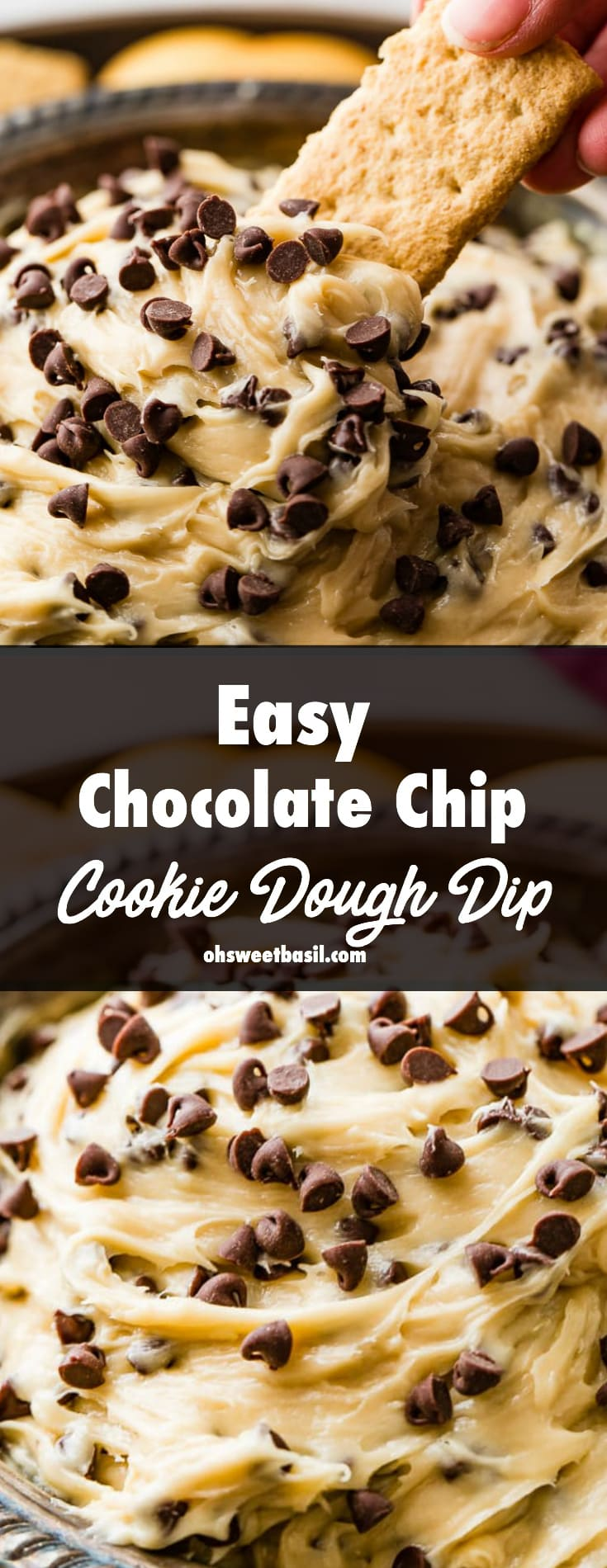 a metal bowl full of easy chocolate chip cookie dough dip with a vanilla wafer scooping some up