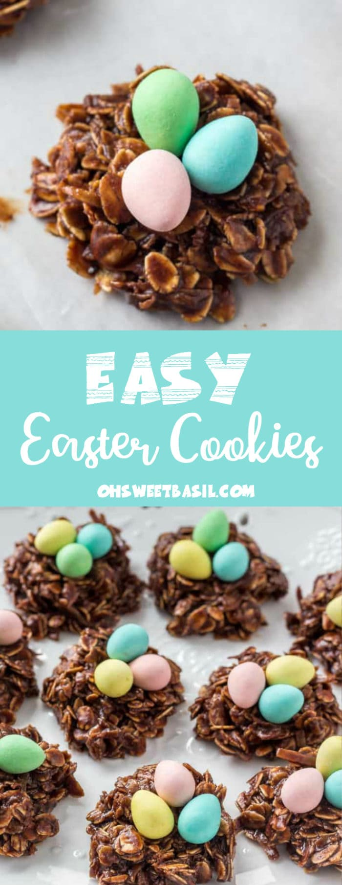 Easy no bake chocolate Easter nest cookies with three Cadbury eggs in the middle.